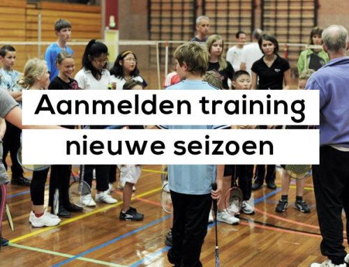 Aanmelden training nieuwe seizoen