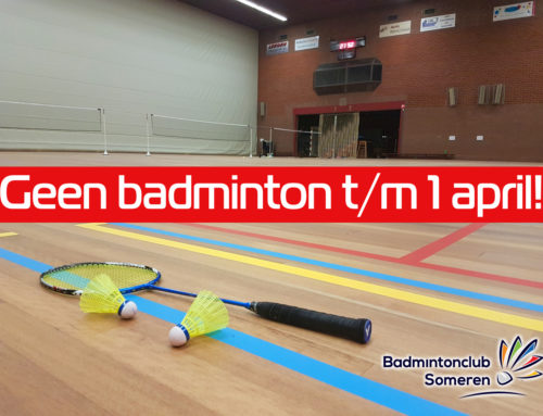 Geen badminton t/m 1 april