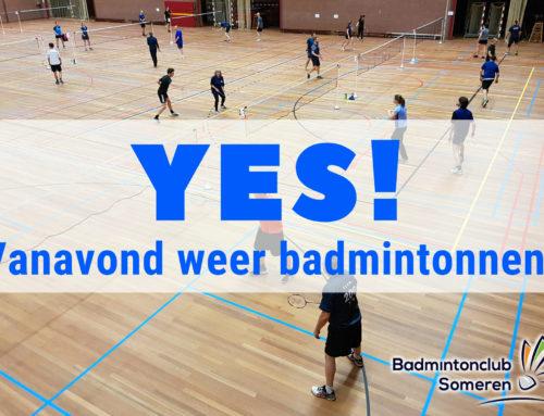 Vanavond (26 augustus) weer badmintonnen!