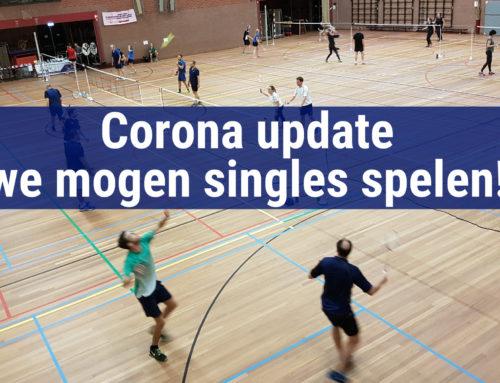 Corona update – Mogen met maximaal 30 personen badmintonnen (alleen singles).