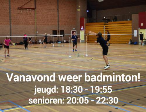 Vanavond weer badmintonnen!
