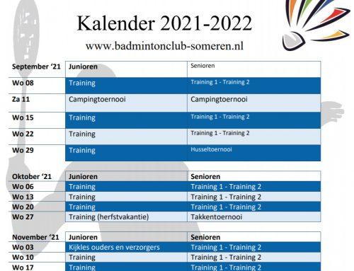 Trainingstijden senioren en kalender