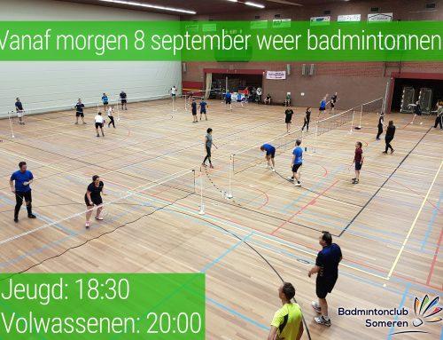 8 september weer badmintonnen!