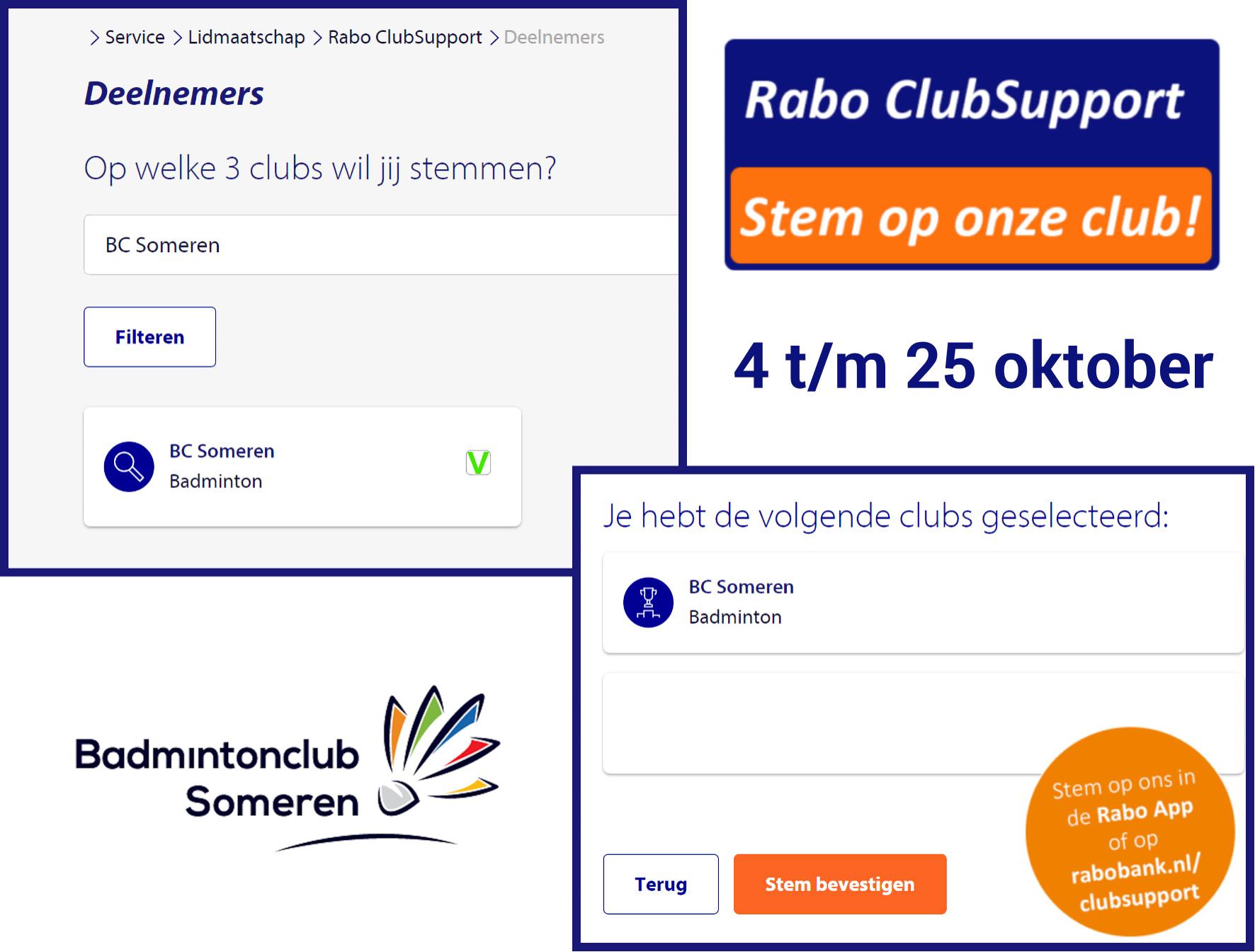 badminton rabobank clubsupport 2021 stemmen Someren Rabobank Peel